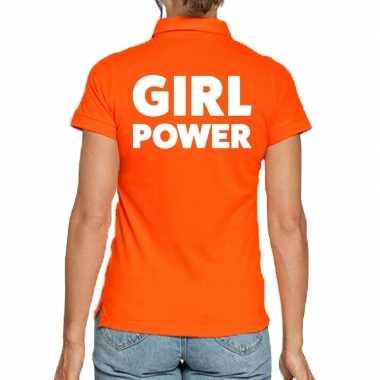 Oranje poloshirt girl power heren
