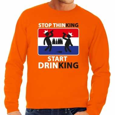 Oranje stop thinking start drinking sweater heren shirt