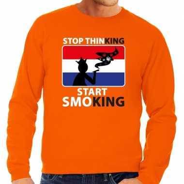 Oranje stop thinking start smoking sweater heren shirt