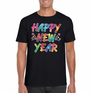 Oud nieuw t shirt happy new year zwart heren