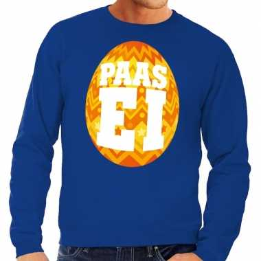 Paas sweater blauw oranje ei heren shirt
