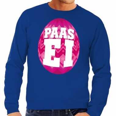 Paas sweater blauw roze ei heren shirt