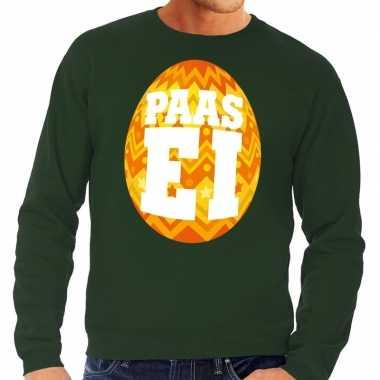 Paas sweater groen oranje ei heren shirt
