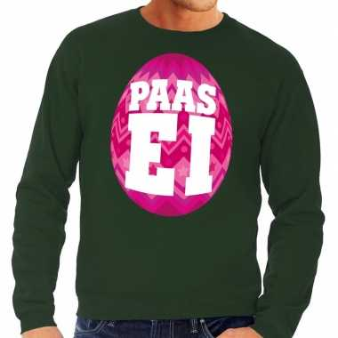 Paas sweater groen roze ei heren shirt