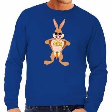 Paas sweater stoere paashaas blauw heren shirt