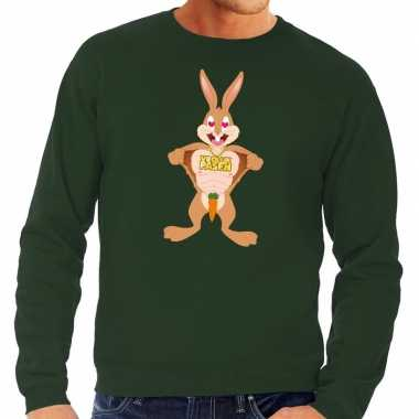 Paas sweater verliefde paashaas groen heren shirt