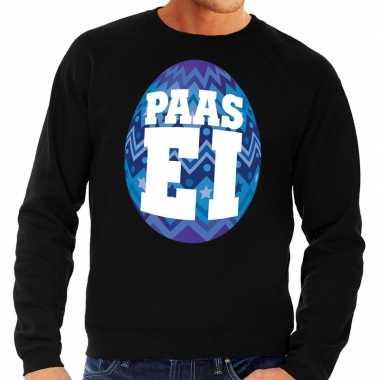 Paas sweater zwart blauw ei heren shirt