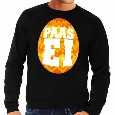Paas sweater zwart oranje ei heren shirt