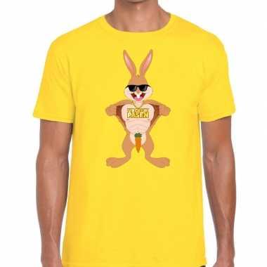 Paas t shirt stoere paashaas geel heren