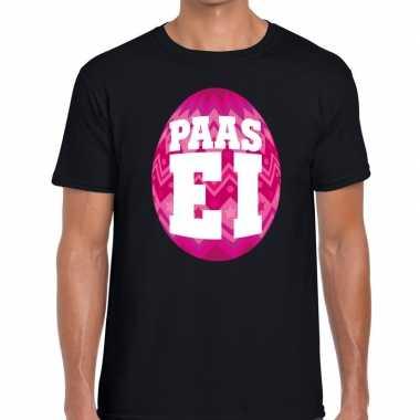 Paasei t shirt zwart roze ei heren