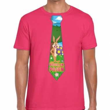 Paashaas stropdas vrolijk pasen t shirt roze heren