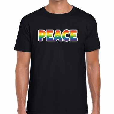 Peace regenboog gaypride shirt zwart heren