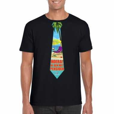 Pensioen t-shirt zwart heren stropdas