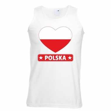Polen hart vlag singlet shirt/ tanktop wit heren