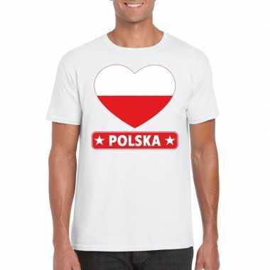 Polen hart vlag t shirt wit heren