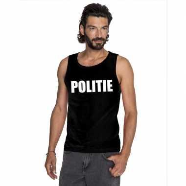 Politie tekst singlet shirt/ tanktop zwart heren