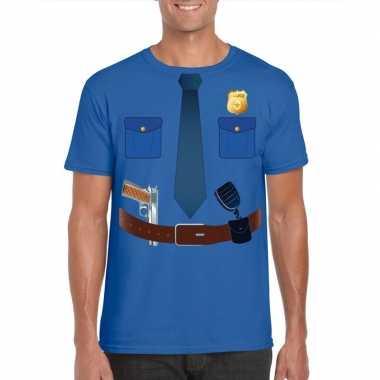 Politie uniform kostuum t shirt blauw heren