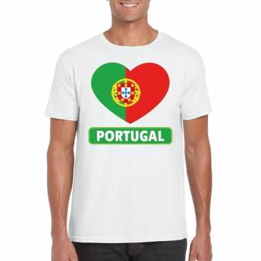Portual hart vlag t-shirt wit heren