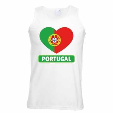 Portugal hart vlag singlet-shirt tanktop wit heren