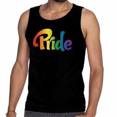 Pride gay pride tanktop/mouwloos shirt zwart heren