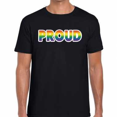 Proud regenboog gaypride shirt zwart heren