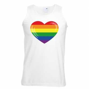 Regenboog vlag hart singlet shirt/ tanktop wit heren