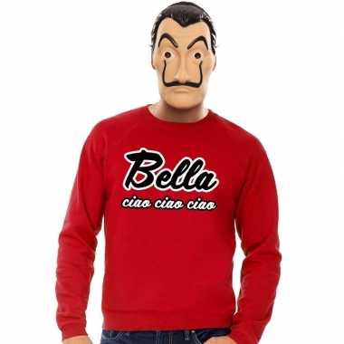 Rode bella ciao sweater la casa papel masker heren shirt