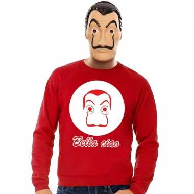 Rode salvador dali sweater la casa papel masker heren shirt