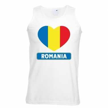 Roemenie hart vlag singlet-shirt tanktop wit heren