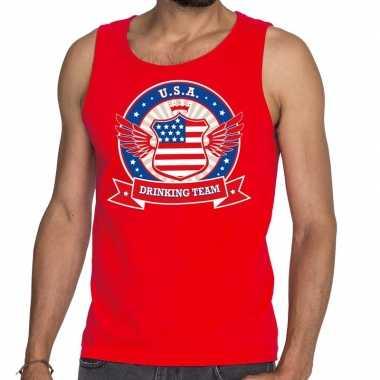 Rood usa drinking team tanktop / mouwloos shirt heren