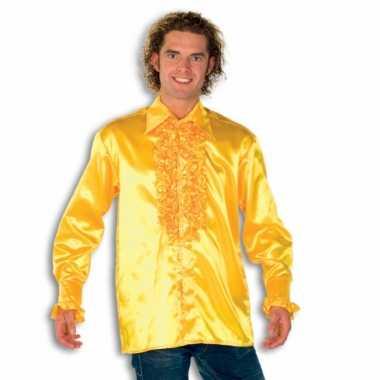 Rouche overhemd heren geel shirt