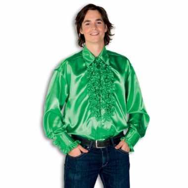 Rouche overhemd heren groen shirt