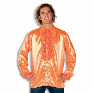 Rouche overhemd heren oranje shirt