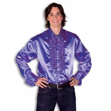 Rouche overhemd heren paars shirt