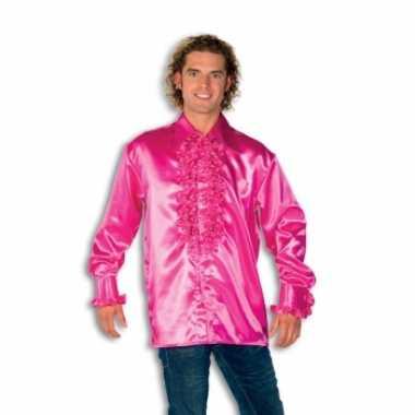Rouche overhemd heren roze shirt