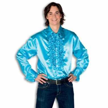 Rouche overhemd heren turquoise shirt