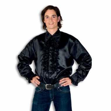 Rouche overhemd heren zwart shirt