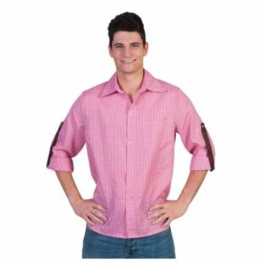 Roze geruite blouse heren shirt
