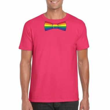 Roze t shirt regenboog vlag strikje heren