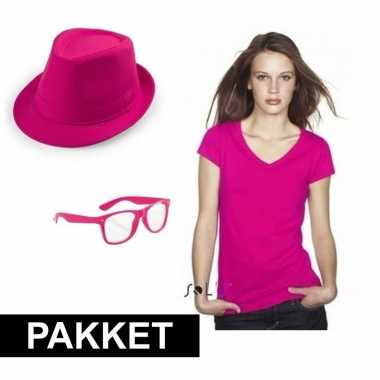 Roze verkleed set heren shirt 10109790