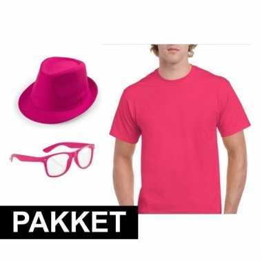 Roze verkleed set heren shirt
