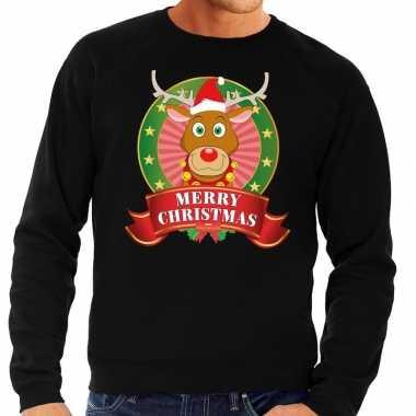Rudolf kersttrui zwart merry christmas heren shirt