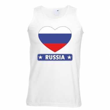 Rusland hart vlag singlet shirt/ tanktop wit heren