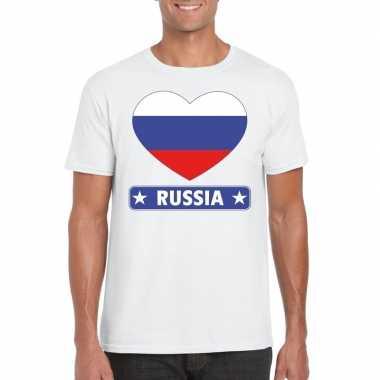Rusland hart vlag t shirt wit heren