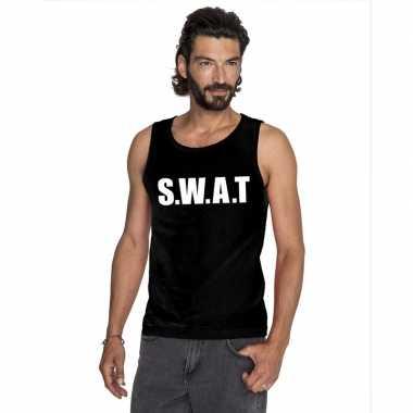 S w a t tekst singlet-shirt tanktop zwart heren