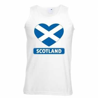 Schotland hart vlag singlet-shirt tanktop wit heren