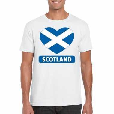 Schotland hart vlag t-shirt wit heren