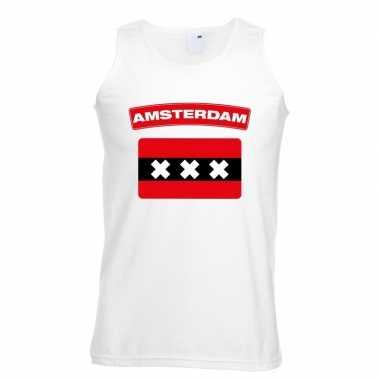 Singlet shirt/ tanktop amsterdamse vlag wit heren
