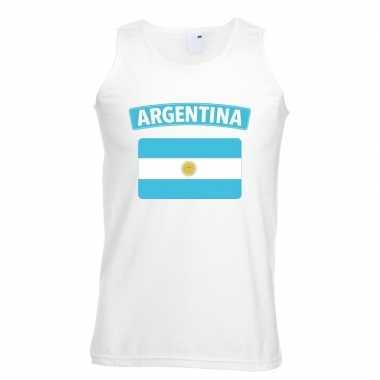 Singlet-shirt tanktop argentijnse vlag wit heren
