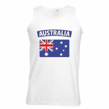 Singlet-shirt tanktop australische vlag wit heren